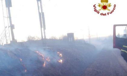 Incendio lungo la ferrovia a Zorlesco