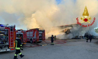 In fiamme un deposito di rotoballe, coinvolte almeno 500 balle di fieno FOTO