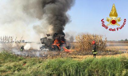Incendio di una mietitrebbia a Cavenago d'Adda, i Vigili del fuoco scongiurano il peggio FOTO e VIDEO