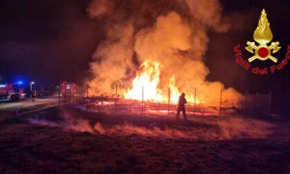 Il video del legname della ex Cattedrale Vegetale a fuoco